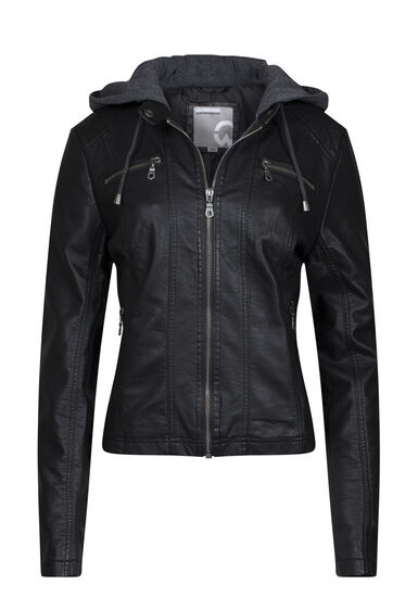 Women's Hooded Moto Jacket, BLACK, hi-res