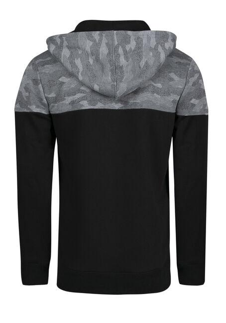 Men's Camo Colour Block Hoodie, BLACK, hi-res