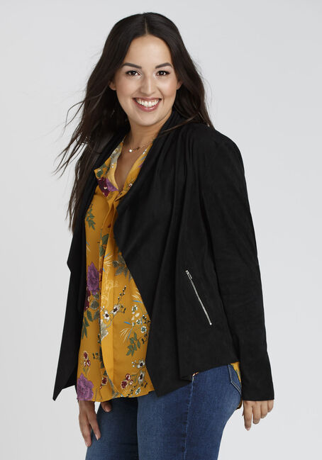 Ladies' Drape Front Blazer, BLACK, hi-res