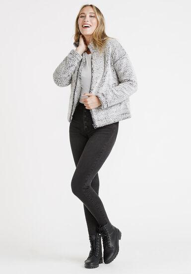 Women's Teddy Zip Front Jacket, GREY, hi-res
