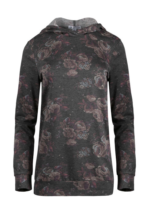 Women's Floral Hooded Tee, CHARCOAL, hi-res