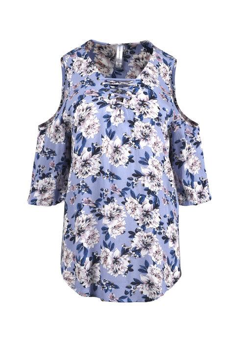 Women's Floral Cold Shoulder Top, ROBINS EGG, hi-res