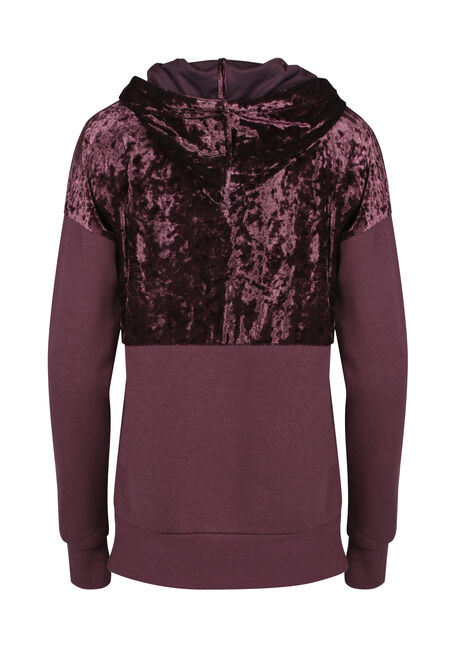 Ladies' Crushed Velvet Hoodie, MAUVE, hi-res