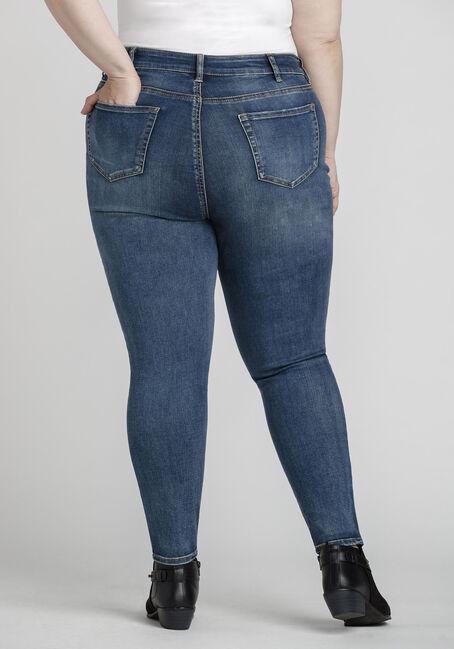 Women's Plus Size Rip & Repair Skinny Jeans, DARK WASH, hi-res