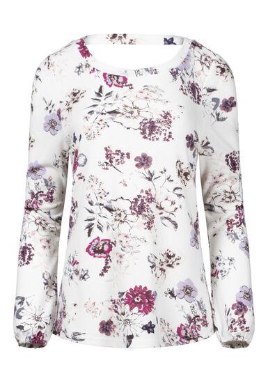 Women's Floral V-Back Top, WINTER WHITE, hi-res