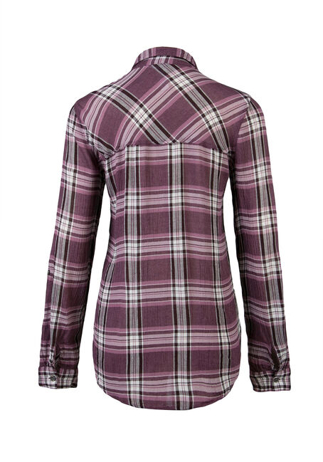Ladies' Crinkle Plaid Shirt, THISTLE, hi-res
