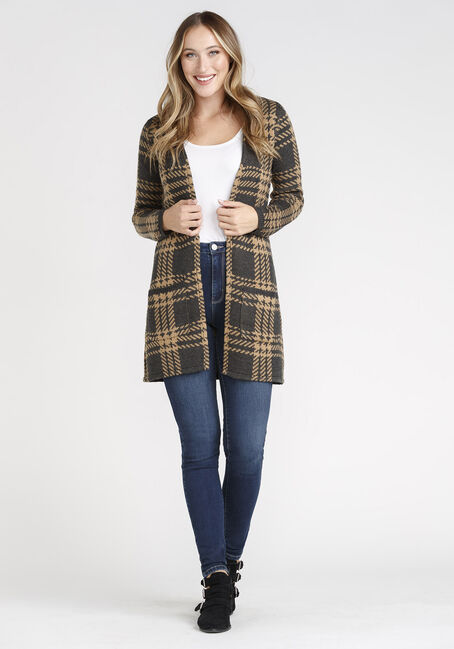 Women's Plaid Cardigan, CHARCOAL/DIJON, hi-res