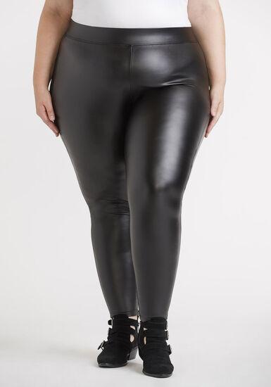 Women's Plus Faux Leather Legging, BLACK, hi-res