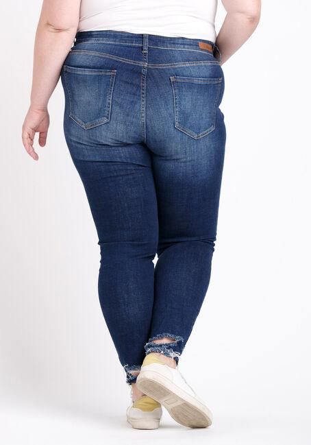 Women's Plus Size Distress Ankle Skinny Jeans, DARK WASH, hi-res