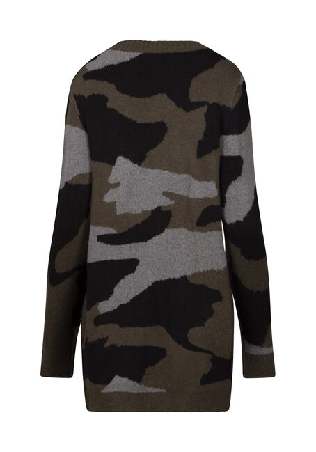 Women's Camo Print Cardigan, MULTI, hi-res