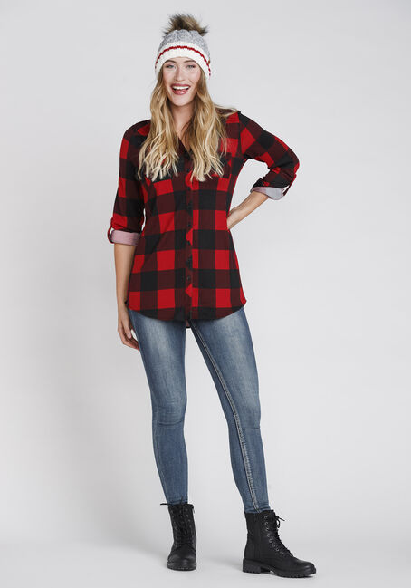 Women's Knit Buffalo Plaid Tunic Shirt, RED, hi-res