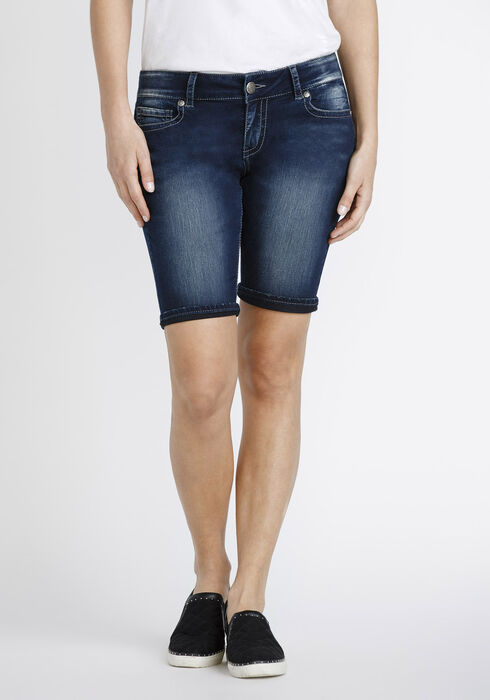 Women's Cuffed Slim Bermuda Short, DARK WASH, hi-res