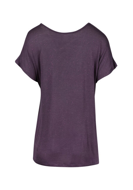 Ladies' Cage Neck Shimmer Tee, PASS.PURPLE, hi-res