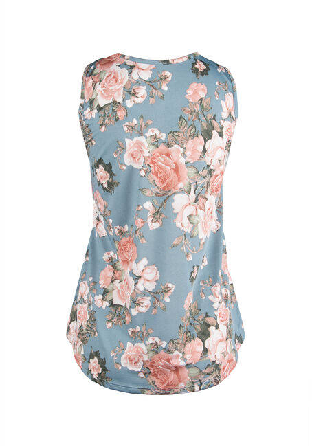 Ladies' Floral Lace-Up Tank, CHAMBRAY, hi-res