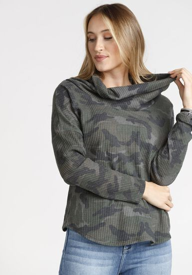 Women's Camo Waffle Cowl Neck Top, DARK OLIVE, hi-res