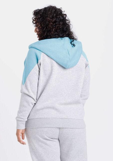 Women's Colour Block Zip Front Hoodie, TURQUOISE, hi-res