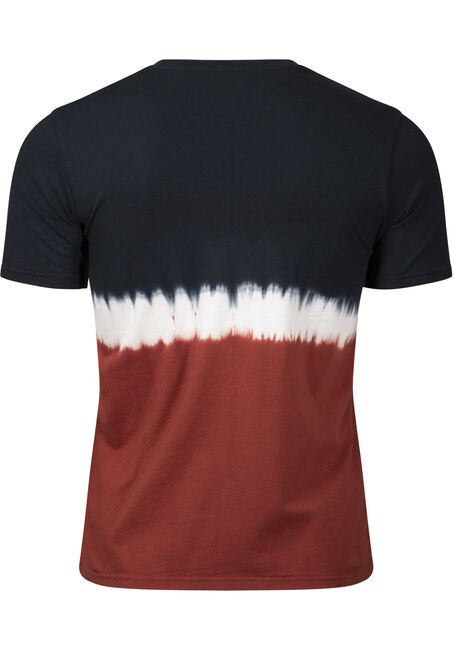 Men's Colour Block Tie Dye Tee, ARABIAN SPICE, hi-res
