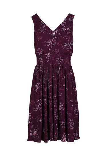 Women's Double V-Neck Floral Dress, PURPLE, hi-res