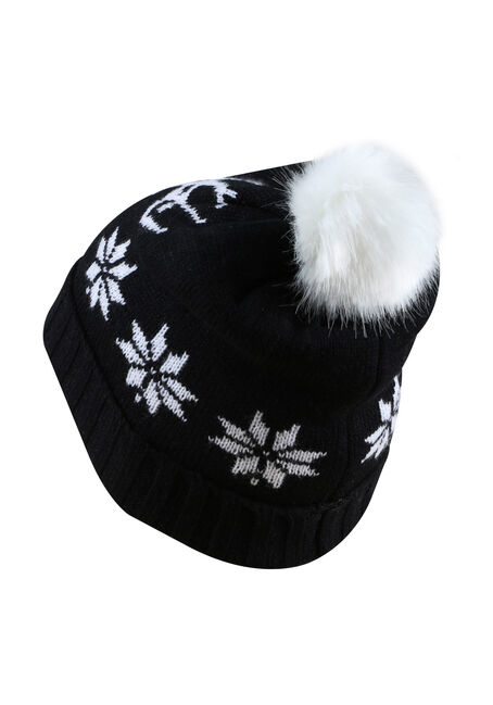 Ladies' Nordic Deer Hat, BLACK, hi-res
