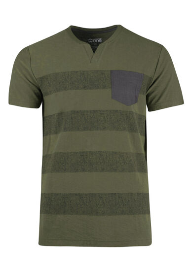 Men's Split V-neck Tee, OLIVE, hi-res