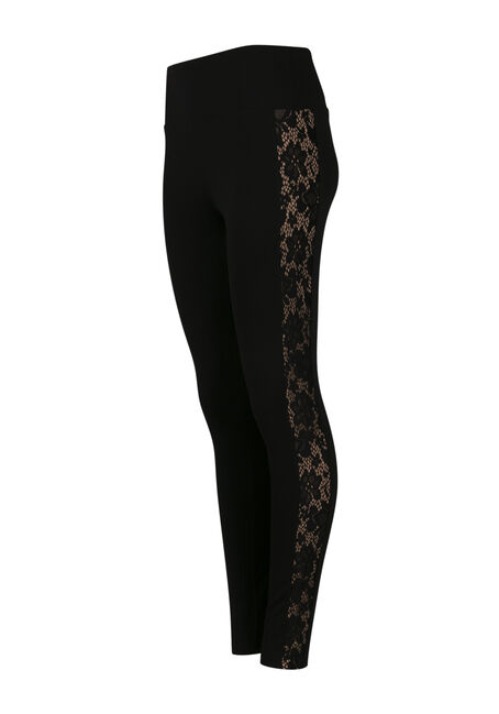 Ladies' Lace Insert Legging, BLACK, hi-res