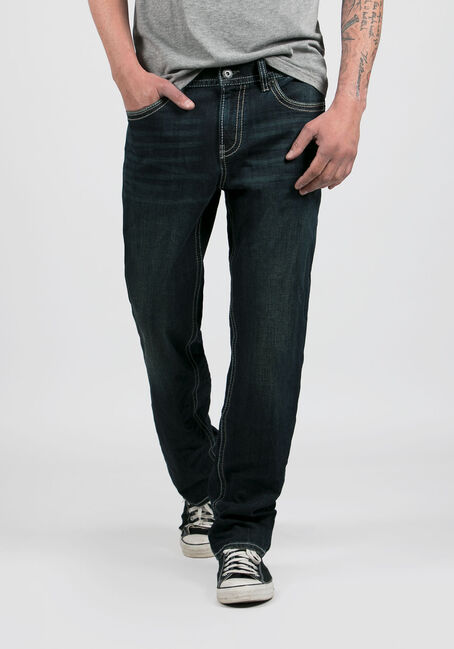 Men's Dark Wash Relaxed Straight Jeans