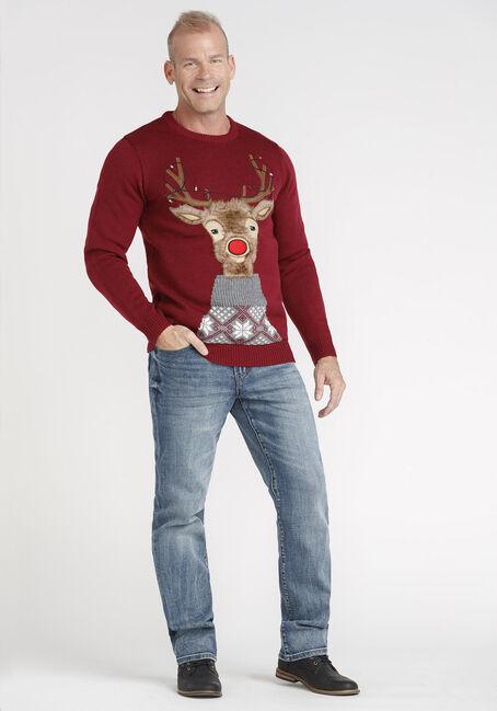 Men's Light Up Rudolph Sweater, RED, hi-res