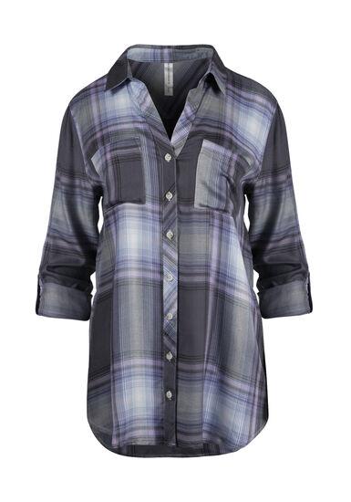 Women's Plaid Boyfriend Shirt, LAVENDER, hi-res