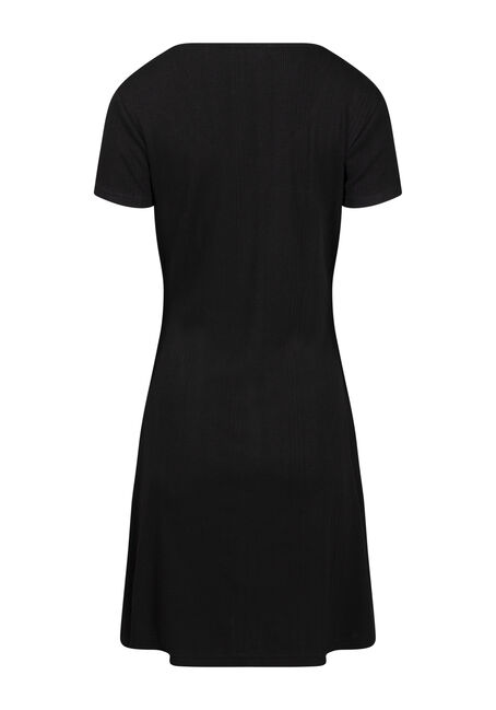Women's Ribbed Button Front Dress, BLACK, hi-res