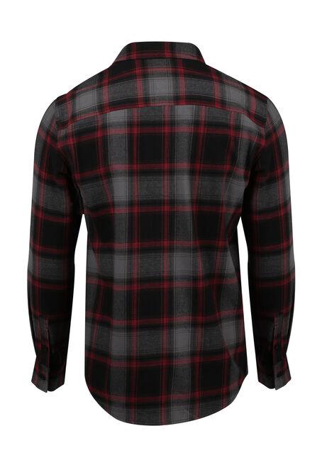 Men's Flannel Plaid Shirt, CRIMSON, hi-res
