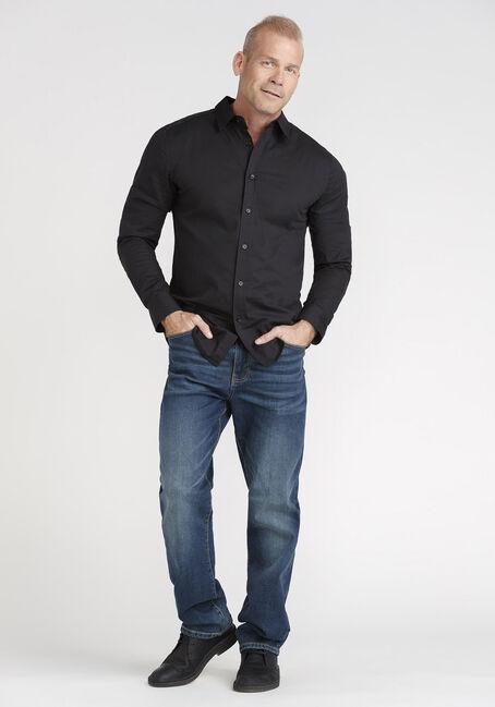 Men's Textured Stripe Shirt, BLACK, hi-res