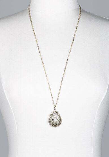Women's long pendant necklace, GOLD, hi-res