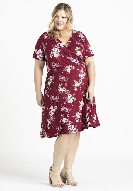 Women's Supersoft Wrap Dress, BURGUNDY, hi-res