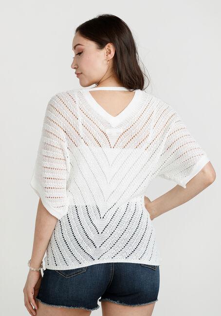 Women's Tie Front Sweater, IVORY, hi-res