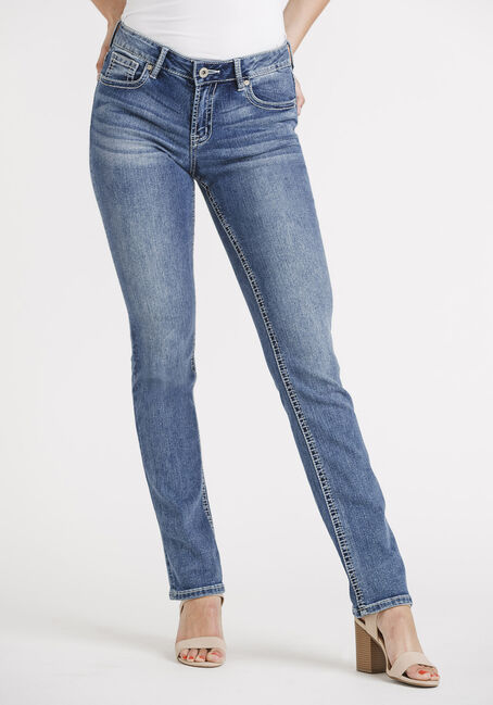 Women's Med Wash Straight Jeans