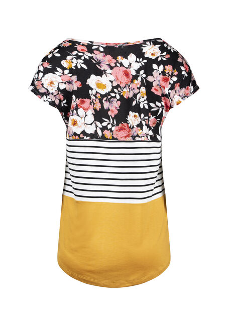 Women's Floral Colour Block Top, MUSTARD, hi-res