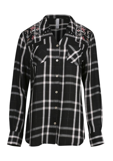 Women's Embroidered Plaid Shirt, BLACK, hi-res