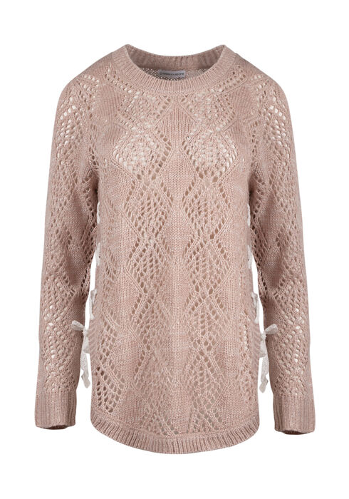 Ladies' Lace Up Pointelle Sweater, PINK/IVORY, hi-res