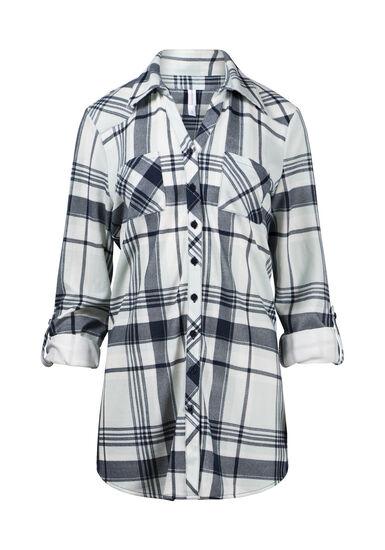 Women's Knit Plaid Tunic Shirt, SAGE, hi-res