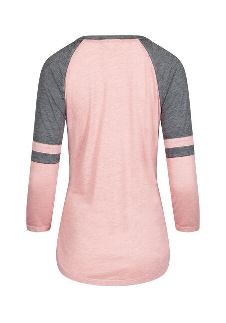 Women's Burnout Football Tee, DUSTY PINK/GREY, hi-res