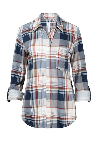 Women's Lace Back Knit Plaid Shirt, SEDONA, hi-res