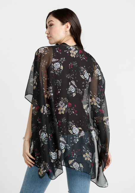Women's Floral Print Wrap, BLACK, hi-res