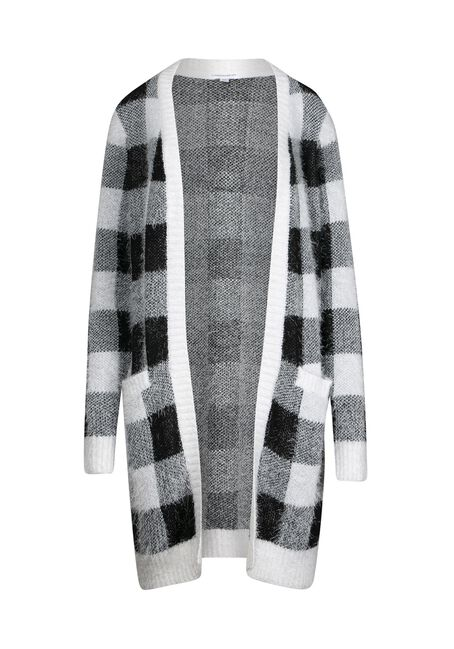 Women's Plaid Feather Yarn Cardigan, BLK/WHT, hi-res