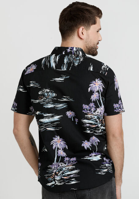 Men's 1Pkt Tropical Resort Shirt, BLACK, hi-res