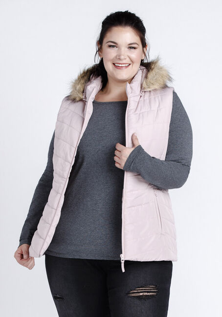 Women's Faux Fur Trim Quilted Vest, PINK, hi-res