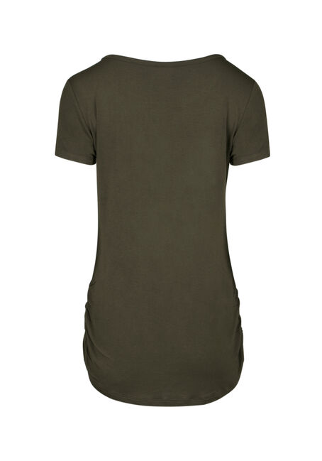 Ladies' Cage Neck Ruched Side Tee, MOSS STONE, hi-res