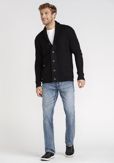 Men's Cardigan Sweater, BLACK, hi-res