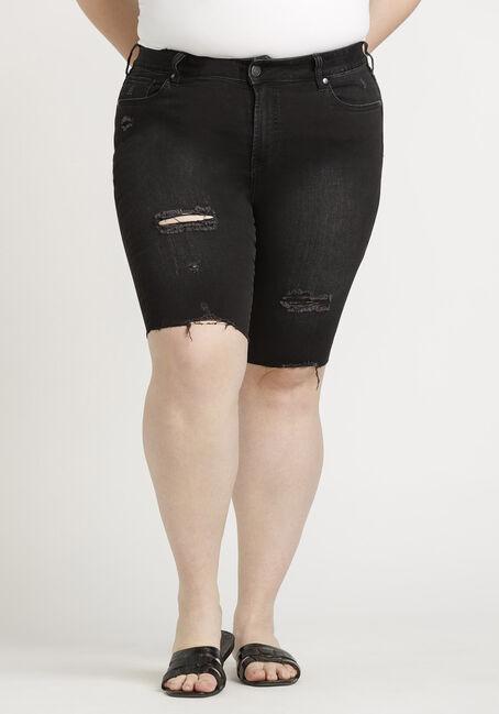 Women's Plus High Rise Black Destroyed Bermuda Short