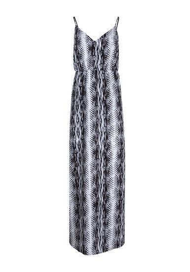 Women's Animal Print Maxi Dress, BLK/WHT, hi-res