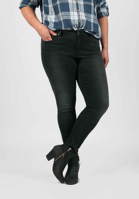 Ladies' Plus Size Skinny Jeans, BLACK, hi-res